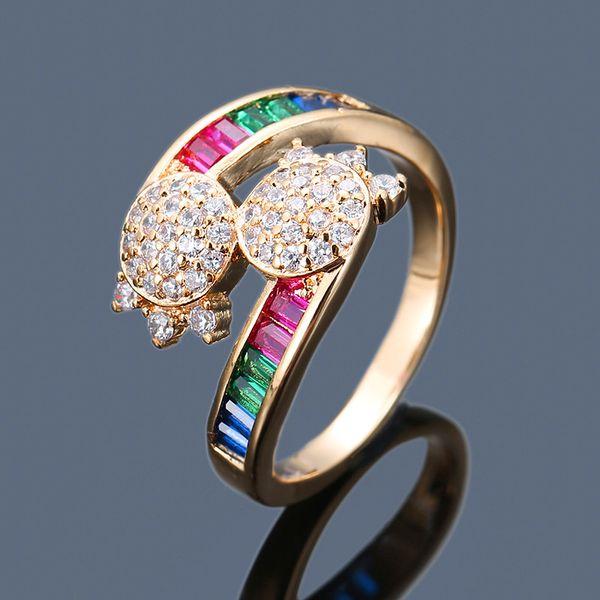 Mode Weibliche Große Ovale Quaste Zirkon Ring Luxus Bunte Stein Ringe Für Frauen Klassische Silber Gelbgold Farbe Hochzeit Ring