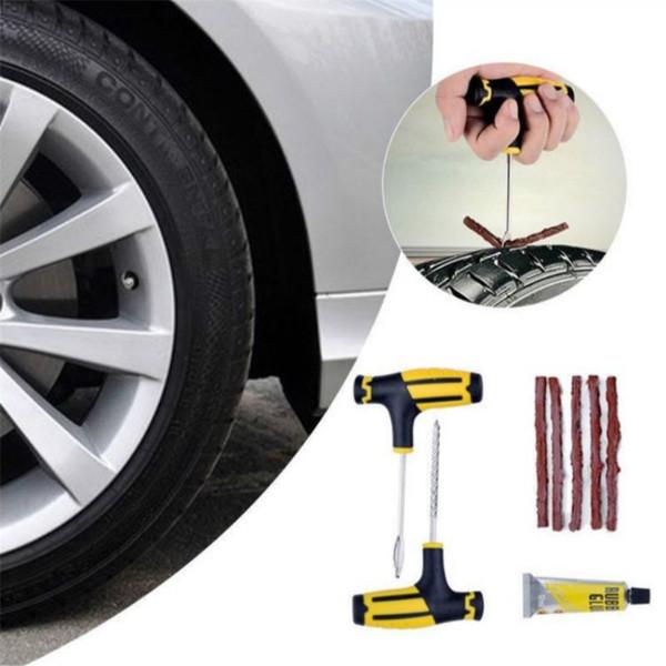 Tubeless Tyre Tire Puncture repair kit Car Van Motorcycle bike Emergency Tool Sets with Strips