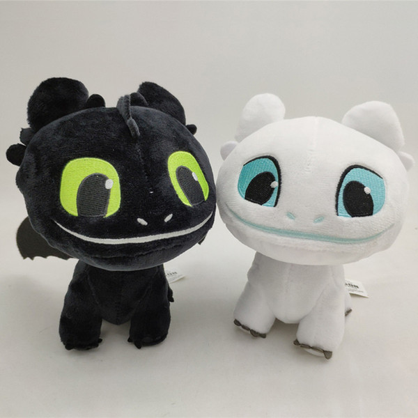 6.3 inch How to Train Your Dragon 3 Plush Toy Toothless Light Fury Soft Cotton Doll Black/white Dragon Stuffed Animals Toys