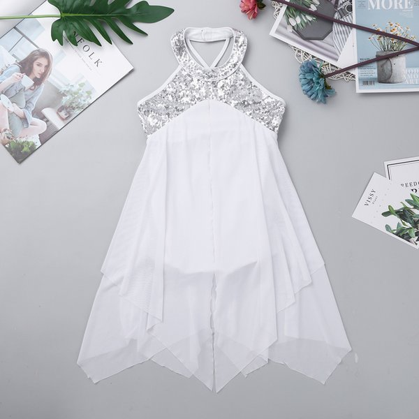 Iiniim Girls Formal Dance Dress Halter Sequins Criss Cross Back Leotard Dress For Gymnastics Lyrical Tutu Dancing Dress For Kids J190506