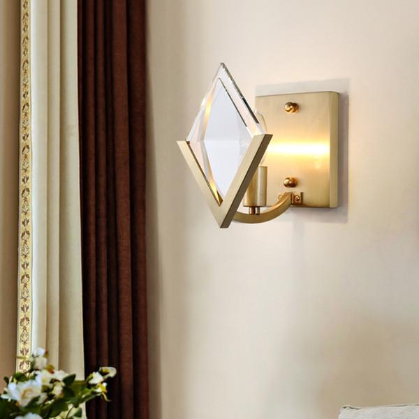 cristal européen des appliques murales de bougeoir de cuivre de luxe lampe de mur conduit d'éclairage d'or de bougeoir de mur vintage pour chambre fond TV couloir de nuit