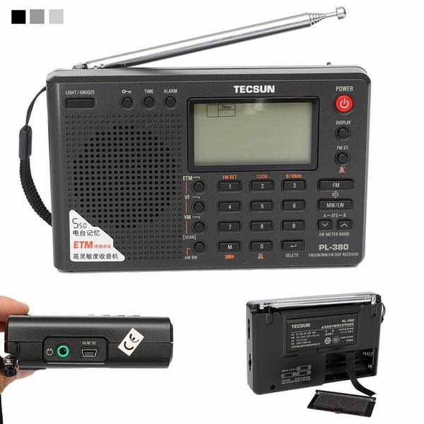 best selling TECSUN PL-380 DSP PLL FM MW SW LW Digital Stereo Radio World-Band Receiver New 3 Colors 7 Tuning Mode Selectable 135x86x29mm