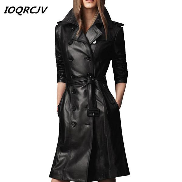 Primavera Outono Preto Trespassado Pu Trench Coat De Couro Mulheres Manga Longa Outerwear Com Cinto OverCoat Plus Size 4XL L185