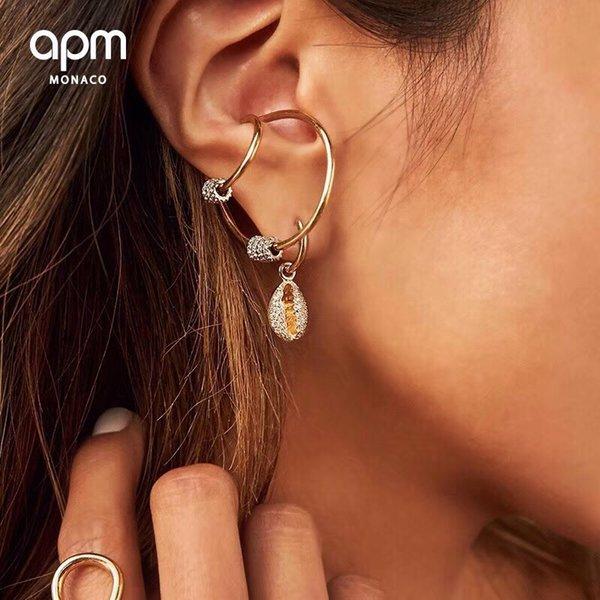 APM Monaco 925 Orecchini a conchiglia piccoli Femminile Temperamento singolo Lunghi orecchini nuovi di lusso francesi leggeri
