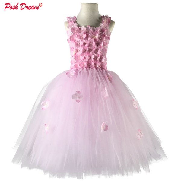 Posh Dream Light Pink Flower Tutu Dress For Wedding Party Yellow And Aqua Blue Flower Children Kids Party Dress Kids Clothes J190505
