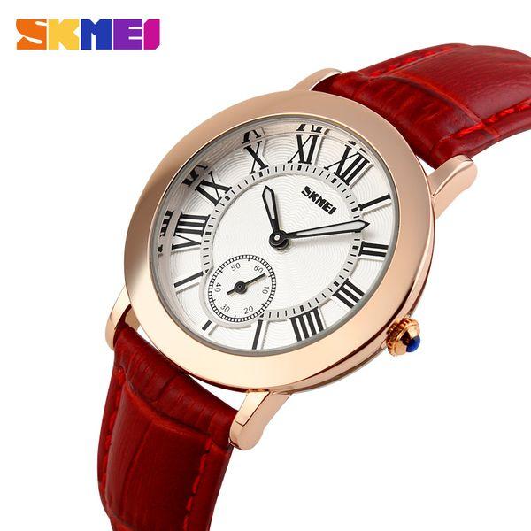Relojes de cuarzo para mujer SKMEI para mujer Reloj de cuarzo Reloj de pulsera de mujer Reloj de pulsera de cuero genuino Montre Femme Relojes1083