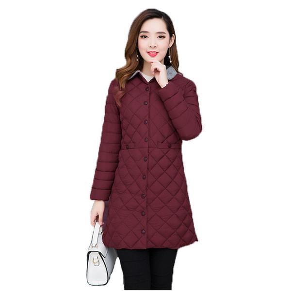 autumn winter women parka coat 5xl plus size slim  2019 new korean black army green lapel fashion long warmth clothing lr576