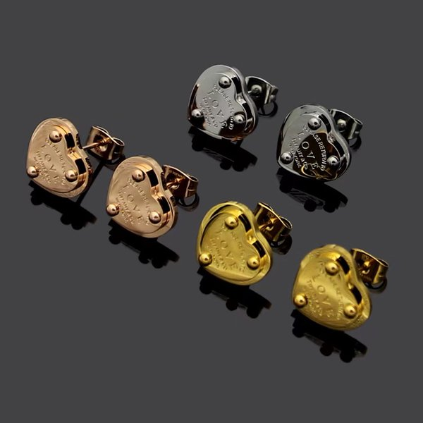 New Arrival High Quality Famous Designer Gold Plated Love ear Studs T Letter Fashion Stainless Steel Earrings For Women Girl Wholesale