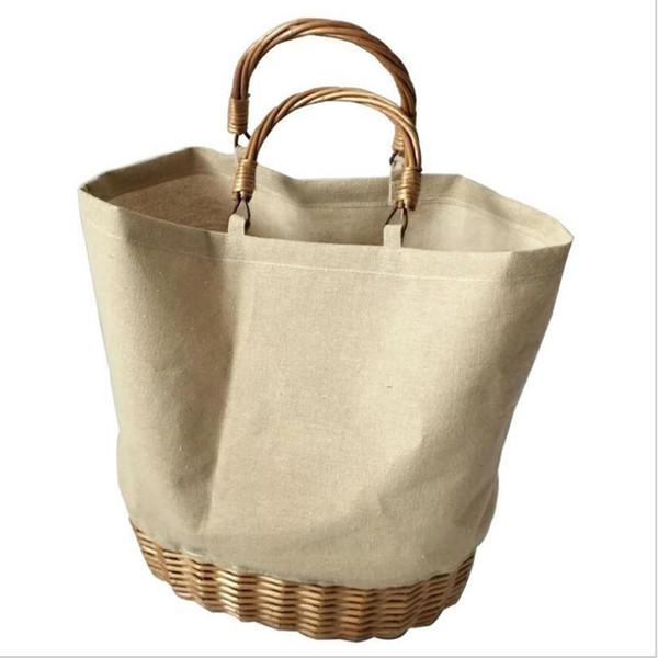 canvas rattan wicker hand woven bag fashion causal tote knitting handbag portable shopping bags for women ladies beach handbags
