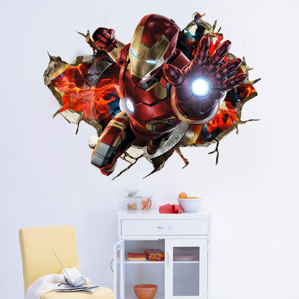 1pc 50*70cm new Marvel's The Avengers 3d wallpaper for kids 3d three-dimensional iron man green giant beauty team home decor wall stickers
