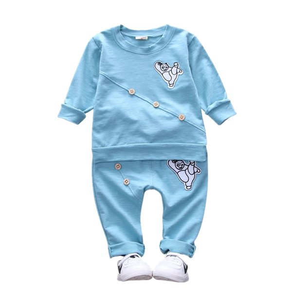 2019 Cartoon Panda Toddler Spring Autumn Clothing Outfit Baby Boys Girls Clothes Children Fashion T-shirt Pants 2 Pcs Tracksuits