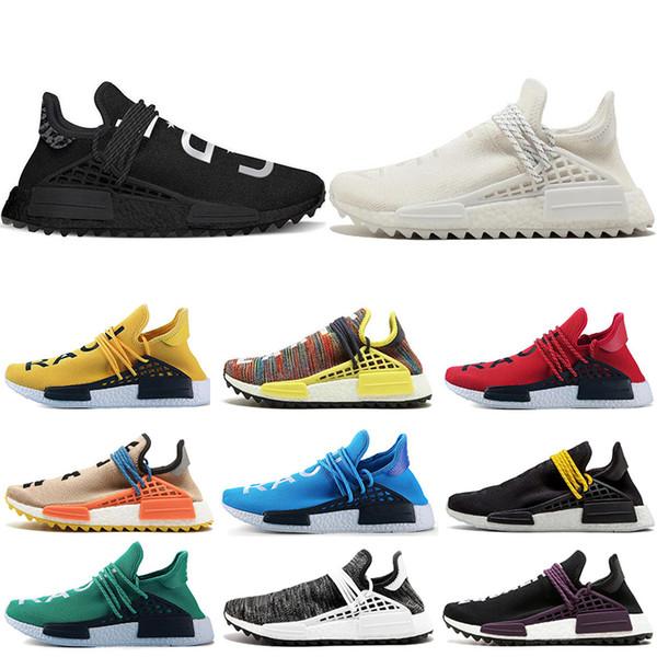 adidas NMD human race la raza humana Hu trail x pharrell williams Nerd hombres zapatillas blancas negro amarillo encaje para hombre entrenadores para mujeres deportes zapatilla de deporte