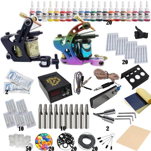 Complete Tattoo Kit Professionnel Débutant Set Machine Pigment à induction Tattoo Alimentation Set