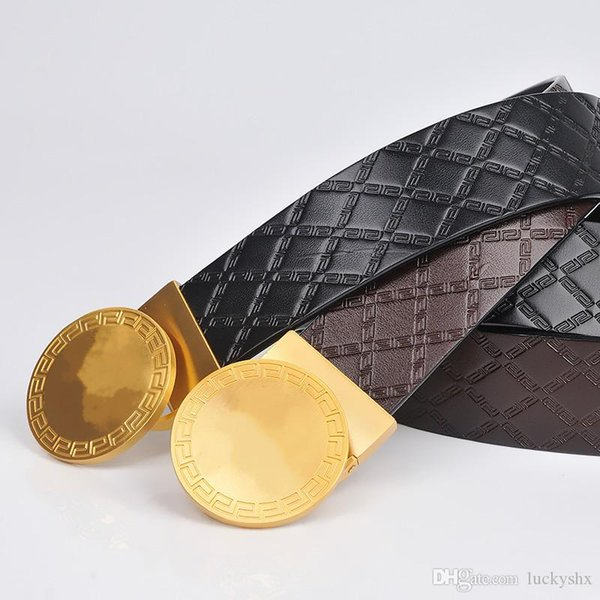 Cinturón de cuero genuino de cuero genuino para hombre, diseñador de lujo, hebilla lisa de cobre de alta calidad, cinturón de piel de vaca para negocios