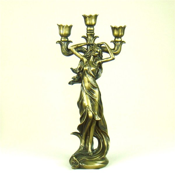 Classical Lady Sculpture Candelabra Decorative Polyresin Vintage Candle Holder Dinning Table Art And Craft Ornament Accessories Y19061901