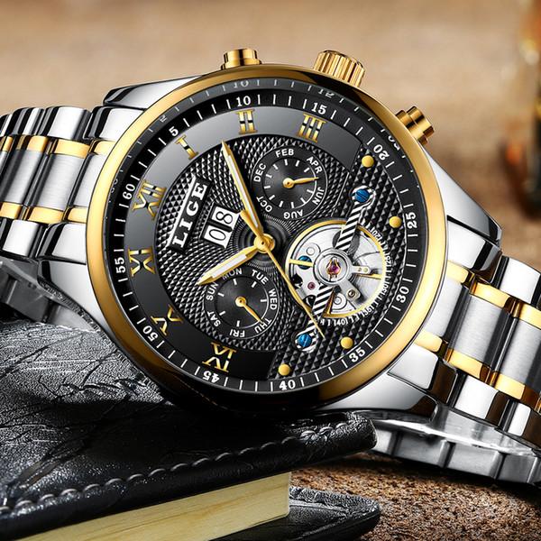 Orologi da uomo Top Brand LIGE Luxury Business Uomo Fashion Watch automatico Uomo Full Steel impermeabile Orologio relogio masculino + scatola