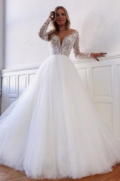 V-neck A-line Appliques Marvelous White Illusion-Long-Sleeves Lace Wedding Dresses Vintage Arabic Backless Bridal Gown