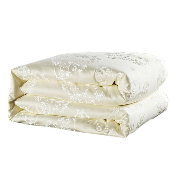 Wholesale- Luxury comforter white mulberry silk filling duvet quilted quilt summer&winter warm comforters king queen size bedding quilts