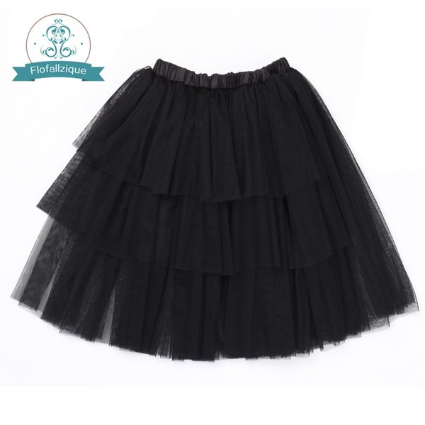 Flofallzique New Solid child elastic waist Tutu Skirt Front Layered Design Outdoor Casual Princess Clothes 3-12Y
