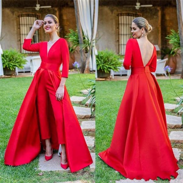 2019 Robes De Bal Rouge Chaudes À Manches Longues Robes De Bal Sur Mesure Combinaisons Femmes Robes De Soirée Formelles parole-longueur