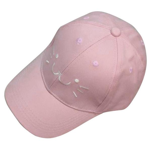 Moda Ayarlanabilir Nakış Snapback Beyzbol Şapkası Sevimli Karikatür Kedi Yüz Hip Hop Düz Şapka Rahat Kap Erkek Kız Için (pembe)