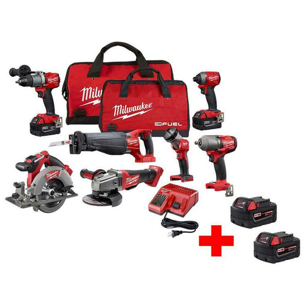 Lithium ion 18 volt m18 bru hle cordle 7 tool combo kit with two batterie