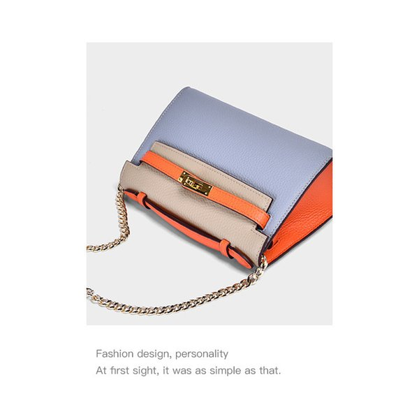Charm2019 Leather Genuine Litchi Grain Spelling Color Small Kylie Package Chain Bag Woman Cowhide Single Shoulder Satchel Tide
