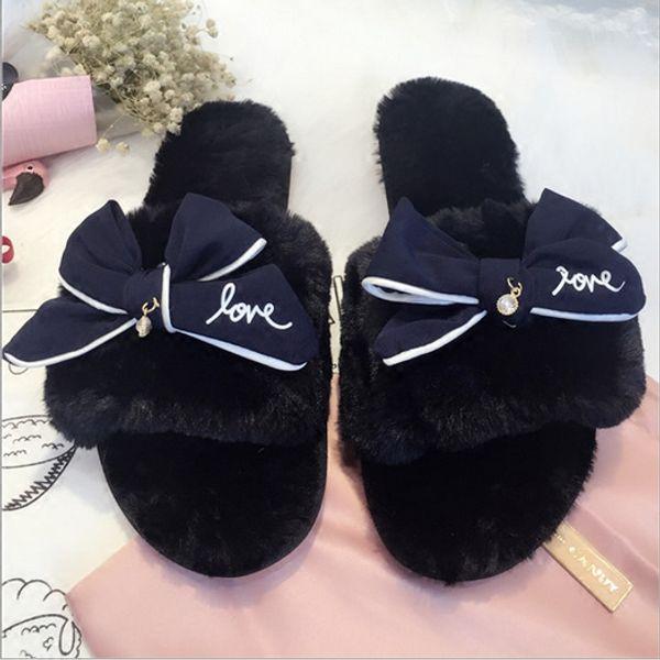 0f478fb32853 fashion bowtie winter slippers with feathers women luxury design fur slides  girls pink fur flip flops warm plush flower sandals