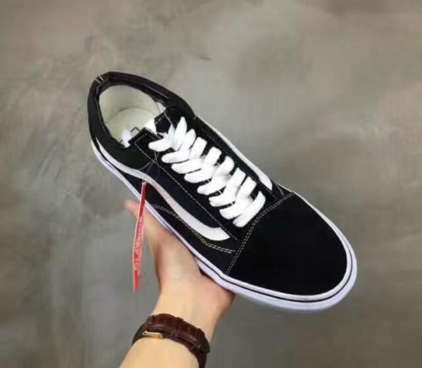 2020 Sıcak Yeni Klasik Siyah Beyaz Eski Erkek Kadın Rahat Düz ayakkabı Kaykay Ayakkabı Rahat Unisex Zapatillas Yürüyüş Ayakkabıları 35-44