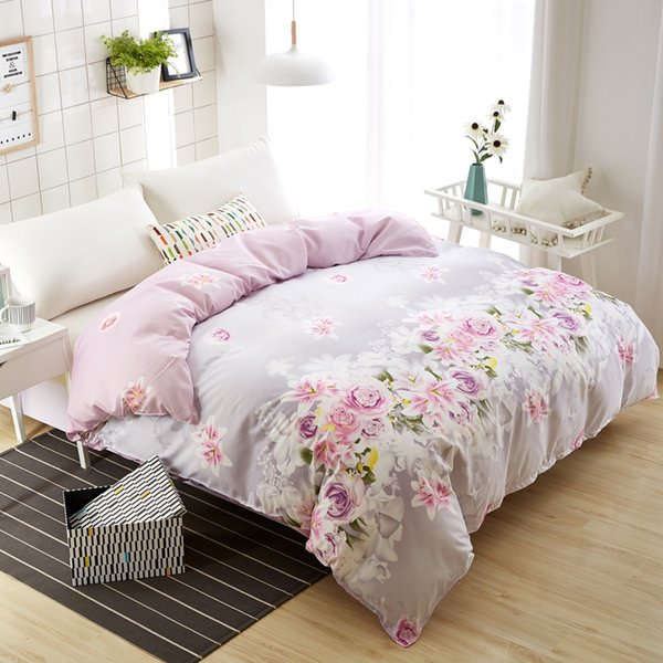 Fashion Purple Rose Duvet Cover 1 Piece Polyester/Cotton Quilt Cover Comforter Cases/Cover Twin Full Queen King Free Shipping