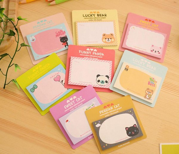 Mignon Kawaii Cartoon Lapin Memo Pad Panda Bear Cat message autocollant collant cadeau papier pour la papeterie Kid école