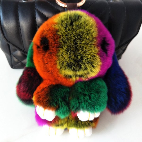 14CM Fluffy Bunny Keychain Women High quality Rex Rabbit Key Chain Fur Pendant Woman Handbag Keyring Car Key Ring Golden ring