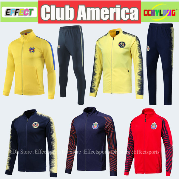 Survetement 2018 2019 Mexico Club America Jacket Kit Training Suit Football 18/19 UNAM Soccer Tracksuit Set Long Sleeve Uniforms Jersey