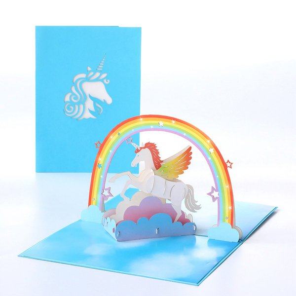 Compre Tarjeta De Felicitación Tarjetas De Invitación Para Niños Corte Por Láser Regalo Agradable Unicornio 3d Sobre En Blanco Papel Kraft Decoración