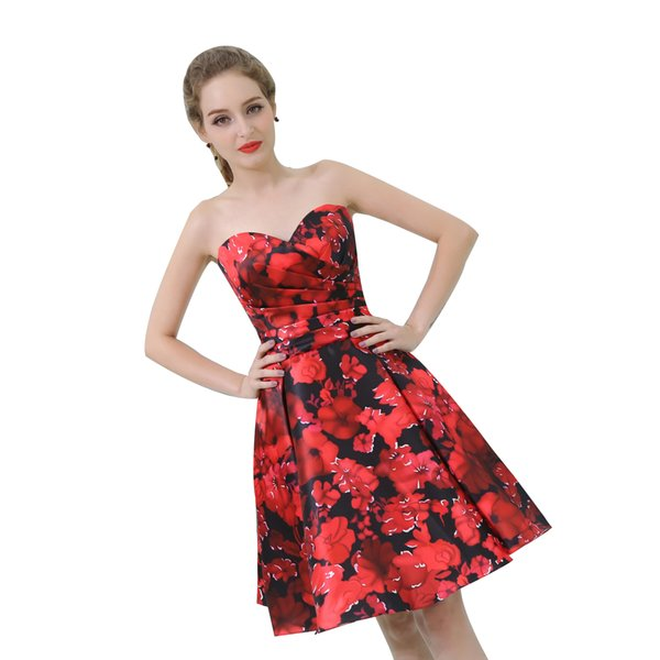 Real Images Strapless Printed Flower Prom Dresses Evening Gowns Cheap Knee Length Prom Dresses Bridesmaid Dresses Formal Party Dress B037