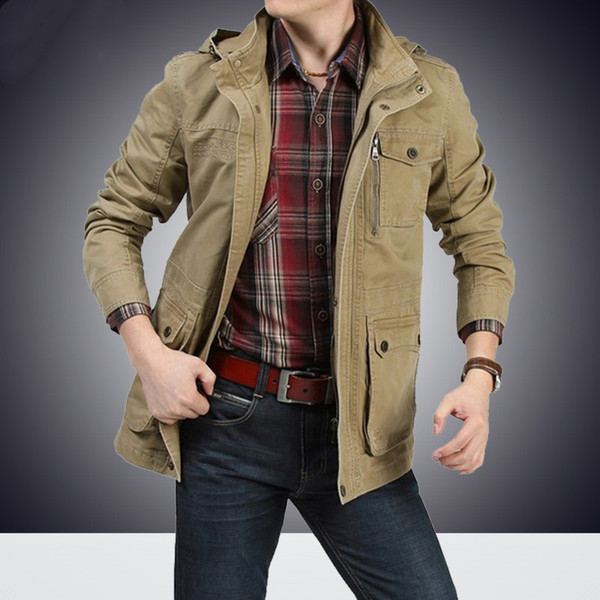 New Spring Autumn Men's Coats Windbreaker Jackets Male Brand Winter Casual Hooded Trench Army Green Cargo Coats