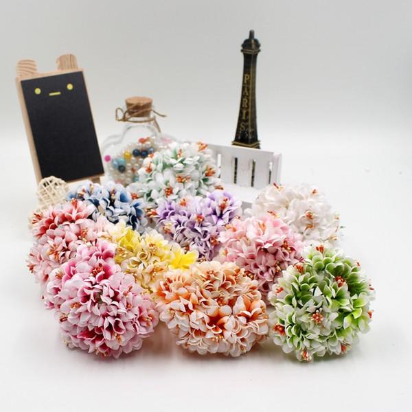 6pcs/lot 3.5cm artificial flowers Silk Gradient stamen for Garden wedding corsage car home decoration bride flower bouquet