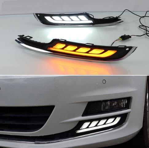 2Pcs Luce di marcia diurna a LED per VW Volkswagen Golf 7 2013 2014 2015 2016 Accessori auto 12V DRL Coperchio fendinebbia