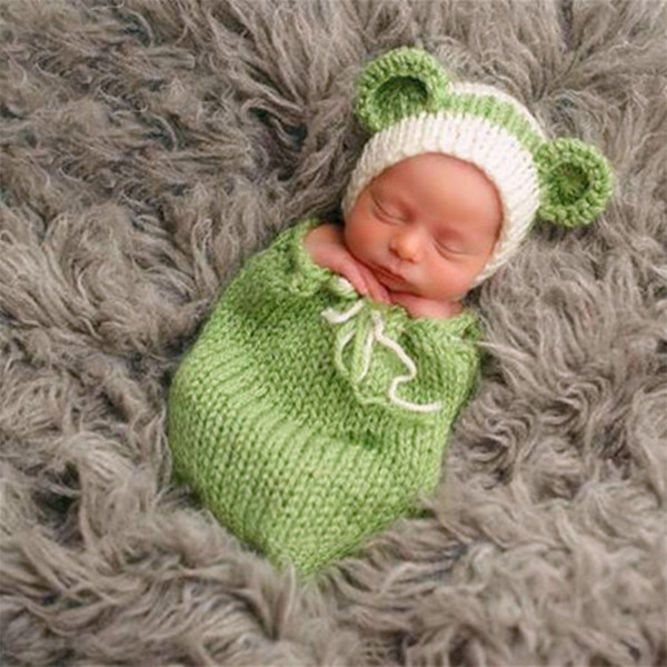 Newborn props infant clothes baby photography crochet toddler beanie cute cat outfit shooting baby girl boy photo fotografie photography