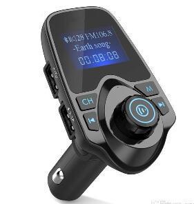 Mejor venta de Bluetooth inalámbrico para coche reproductor de Mp3 manos libres para automóvil transmisor FM A2DP 5V 2.1A cargador USB monitor LCD para coche modulador de FM