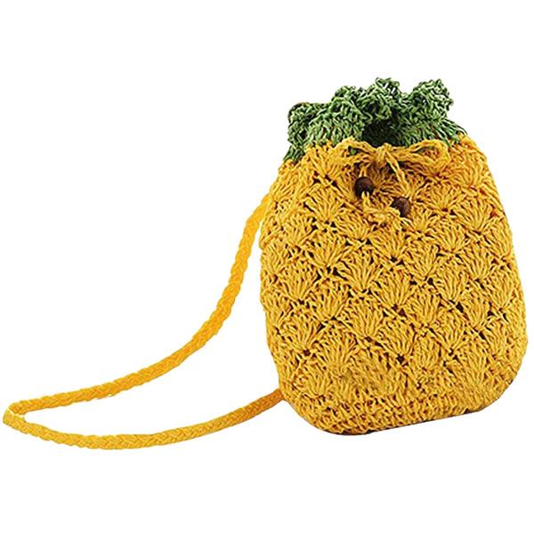 Mini Handbag Woven Pineapple Bag Straw Cross-Body Bag Weave Summer Beach Travel Satchel