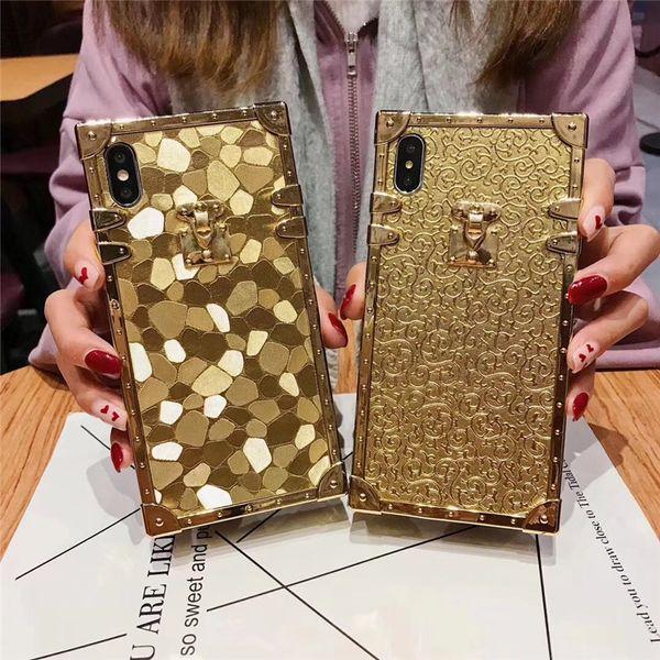 Caso de la cubierta del brillo del oro caliente 3D cuadrado caliente para el iphone X XR XS MAX 6 S 7 8 más alta calidad Anti-caída Soft teléfono casos coque