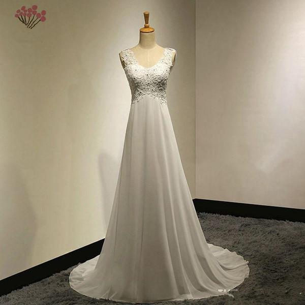 Popodion Sommer Chiffon Brautkleider Plus Size Brautkleider Plus Size Backless Brautkleider Online Shop