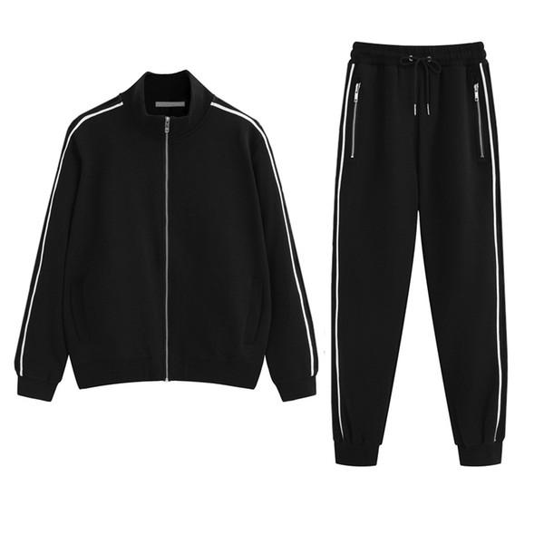 2019 S-2XL Hommes Femmes Designer Survêtements Marque Noir Veste + Pantalon Ensemble De Luxe Casual Costumes De Printemps Top Qualité Kits Drop Shipping B100274V