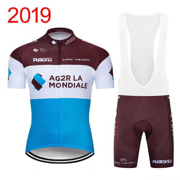 Yeni Erkekler AG2R Takım Bisiklet Forması Setleri Nefes kısa kollu mtb bisiklet gömlek 3D Jel Pedi önlük şort Dağ Bisiklet giyim Y032901