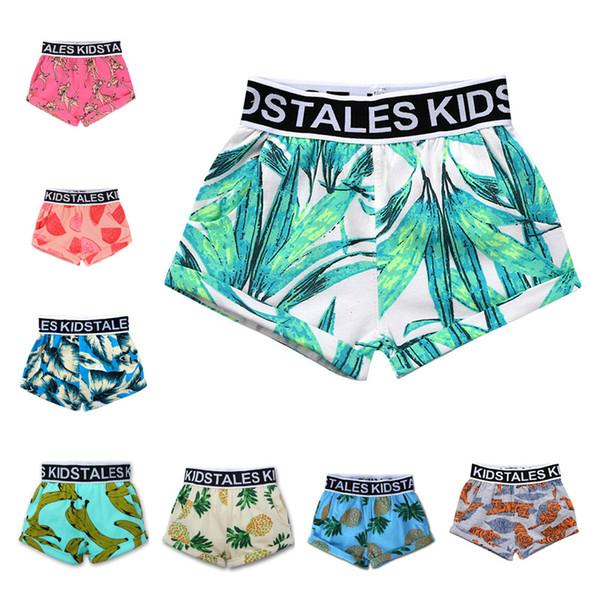 Bebê meninos Board Shorts crianças melancia Folhas de abacaxi imprimir Swim Troncos 2019 Moda verão Praia Shorts 14 cores Roupa Dos Miúdos B11