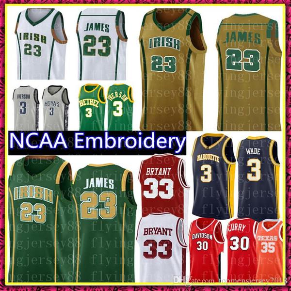 NCAA 23 LeBron James lise Jersey IRISH Erkek Yeşil Sarı Beyaz Basketbol Formalar Nakış Logolar S-XXL