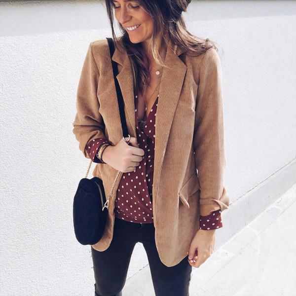 2018 Autumn Women Blazer Jacket Ladies Open Front Business Blazer Corduroy Slim Suit Jacket Coat for Female