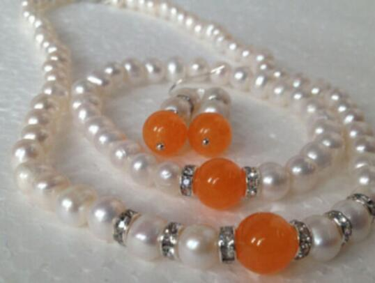 FREE SHIPPING1 Real White Akoya Cultured Pearl/Orange bracelets necklace earrings set