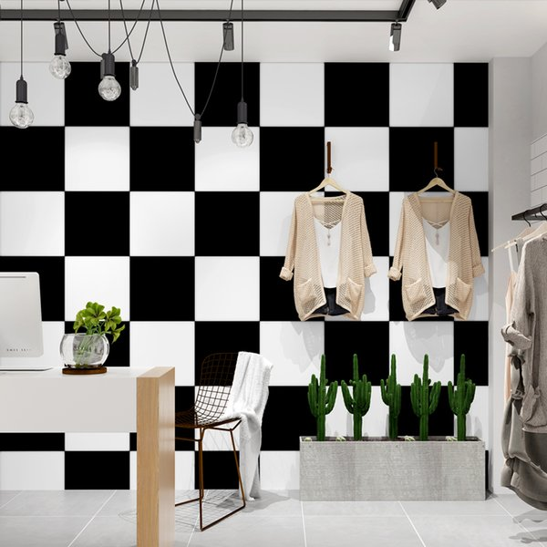 Black And White Gird PVC Wallpaper Modern Waterproof Clothing Store Restaurant Background Wall Decor Simple Fashion Wall Papers
